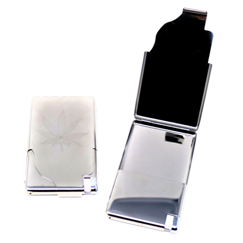 ALUMINIUM CIGARETTE CASE WITH INTEGRATED BUTANE LIGHTER